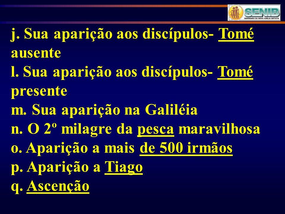 j. Sua aparição aos discípulos- Tomé ausente