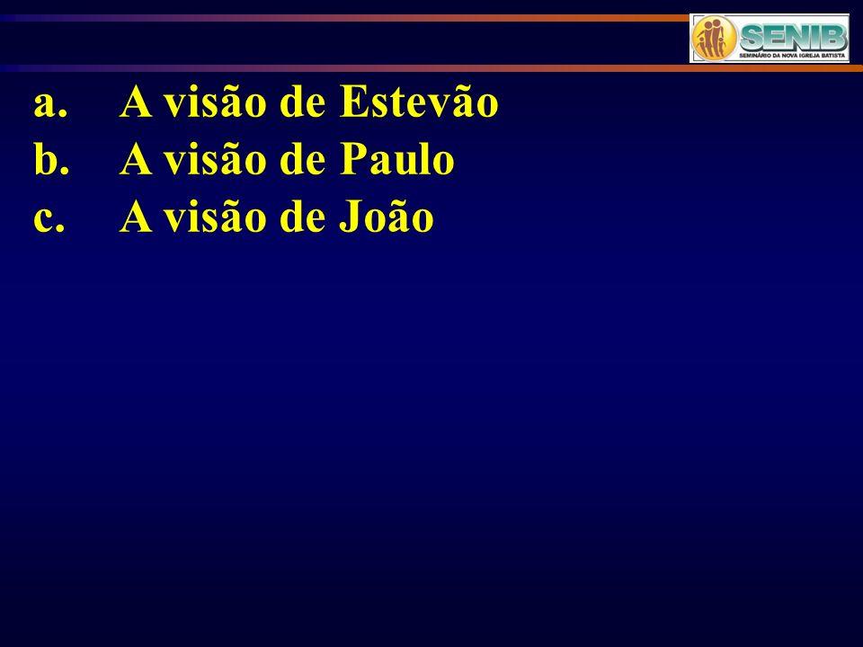 a. A visão de Estevão b. A visão de Paulo c. A visão de João