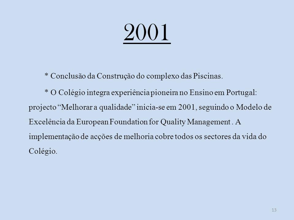 2001 * Conclusão da Construção do complexo das Piscinas.