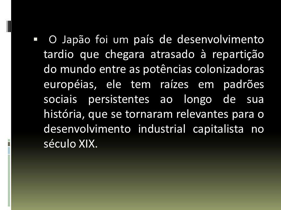 O Japão foi um país de desenvolvimento tardio que chegara atrasado à repartição do mundo entre as potências colonizadoras européias, ele tem raízes em padrões sociais persistentes ao longo de sua história, que se tornaram relevantes para o desenvolvimento industrial capitalista no século XIX.