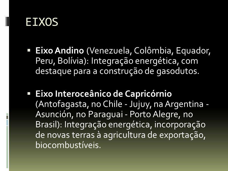 EIXOS Eixo Andino (Venezuela, Colômbia, Equador, Peru, Bolívia): Integração energética, com destaque para a construção de gasodutos.