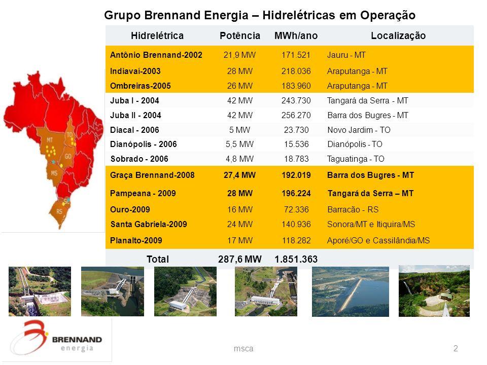 Grupo Brennand Energia – Hidrelétricas em Operação