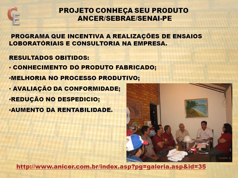 PROJETO CONHEÇA SEU PRODUTO ANCER/SEBRAE/SENAI-PE