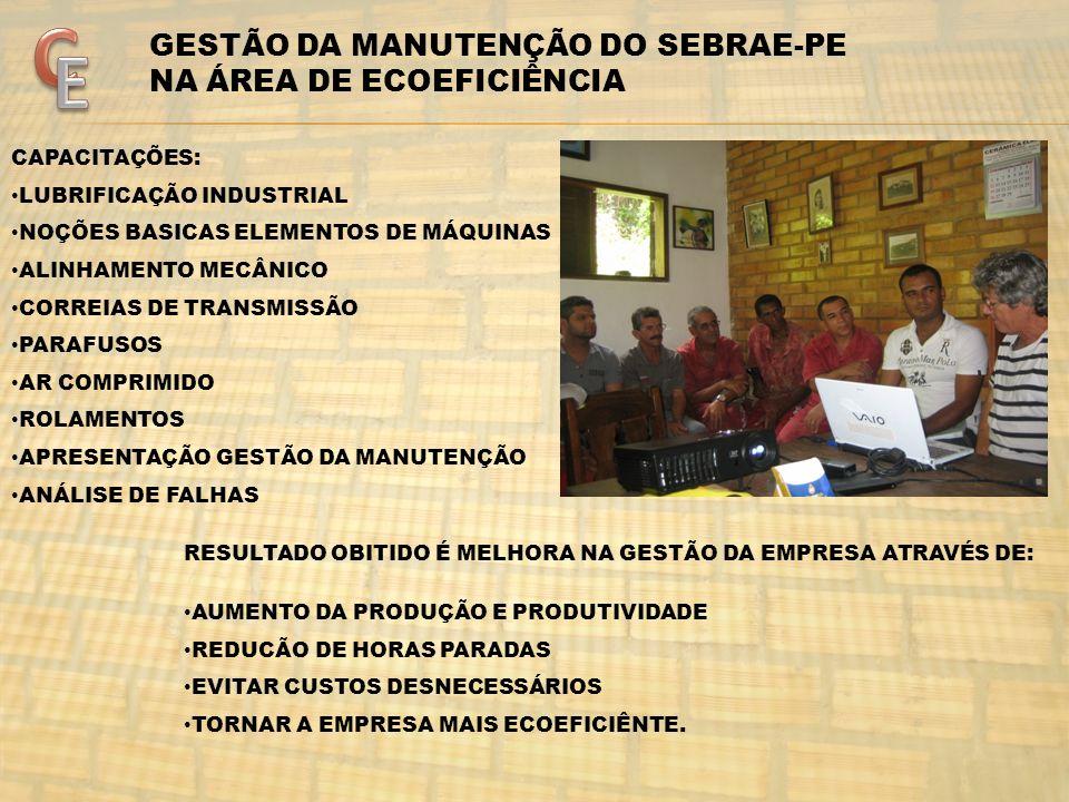 C E GESTÃO DA MANUTENÇÃO DO SEBRAE-PE NA ÁREA DE ECOEFICIÊNCIA