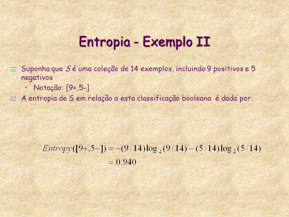 Entropia - Exemplo II Suponha que S é uma coleção de 14 exemplos, incluindo 9 positivos e 5 negativos.