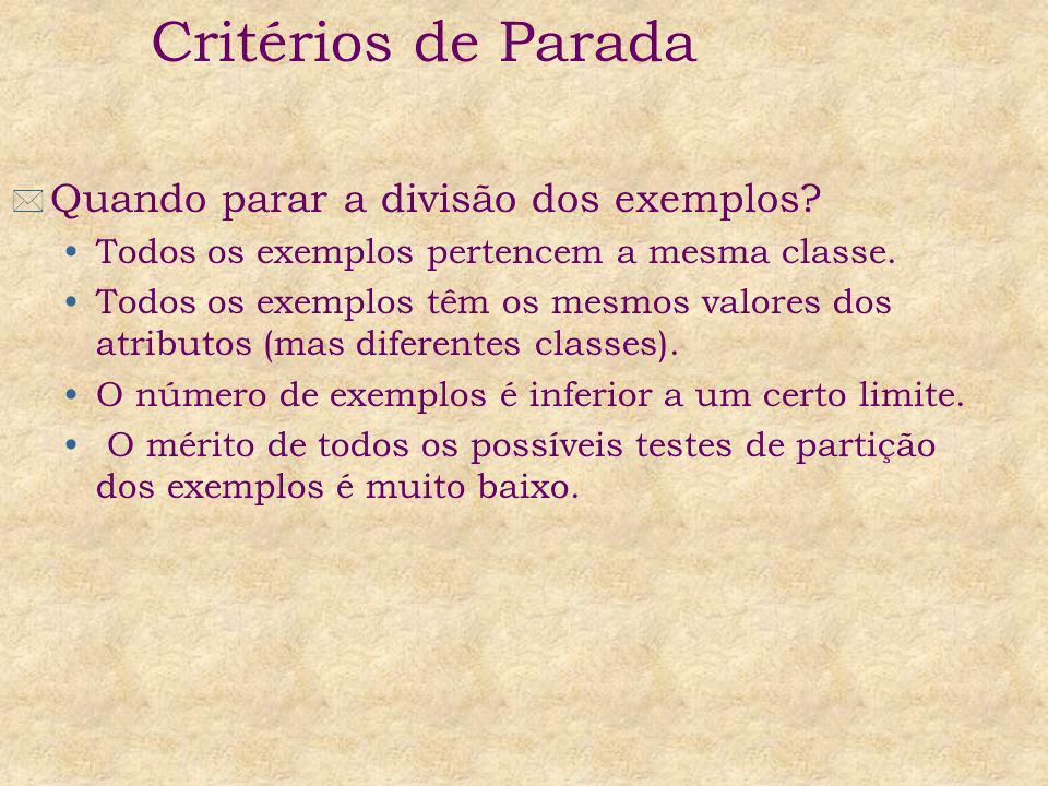 Critérios de Parada Quando parar a divisão dos exemplos