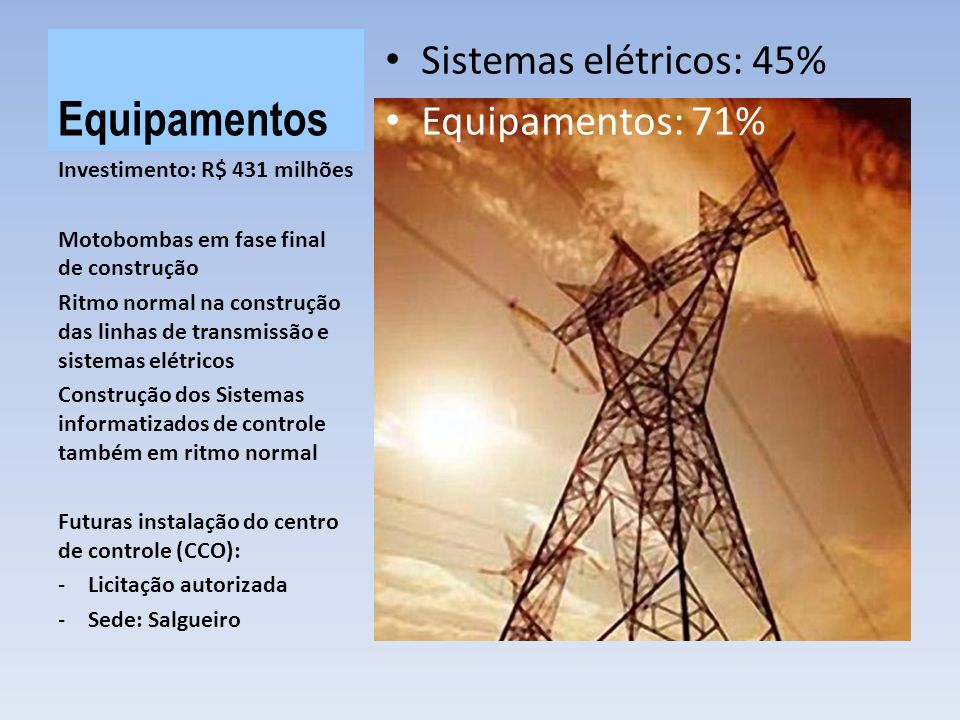 Equipamentos Sistemas elétricos: 45% Equipamentos: 71%