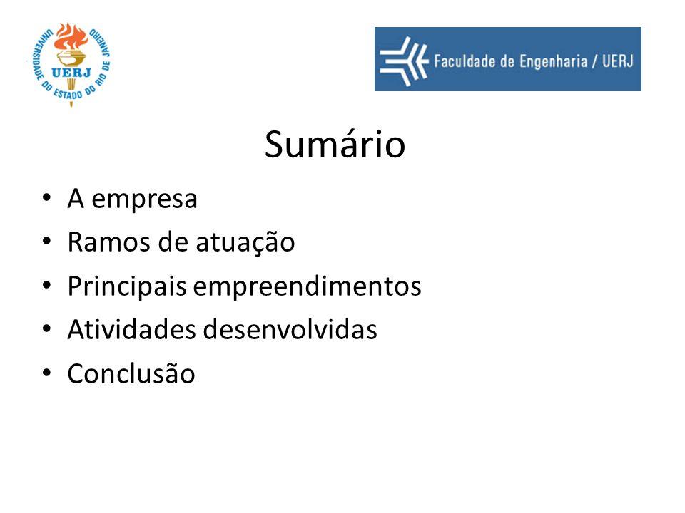 Sumário A empresa Ramos de atuação Principais empreendimentos