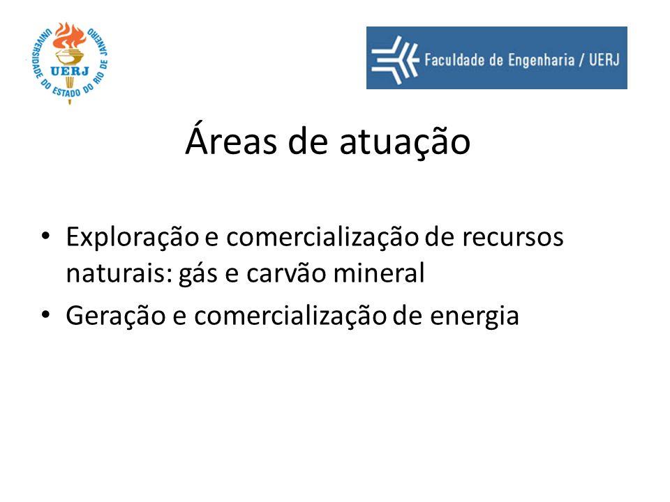 Áreas de atuação Exploração e comercialização de recursos naturais: gás e carvão mineral.
