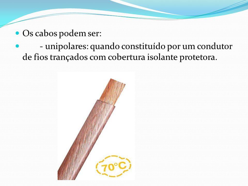 Os cabos podem ser: - unipolares: quando constituído por um condutor de fios trançados com cobertura isolante protetora.