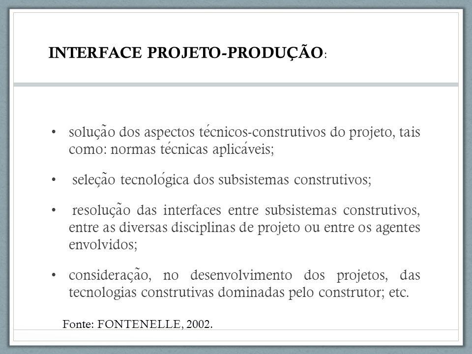 INTERFACE PROJETO-PRODUÇÃO: