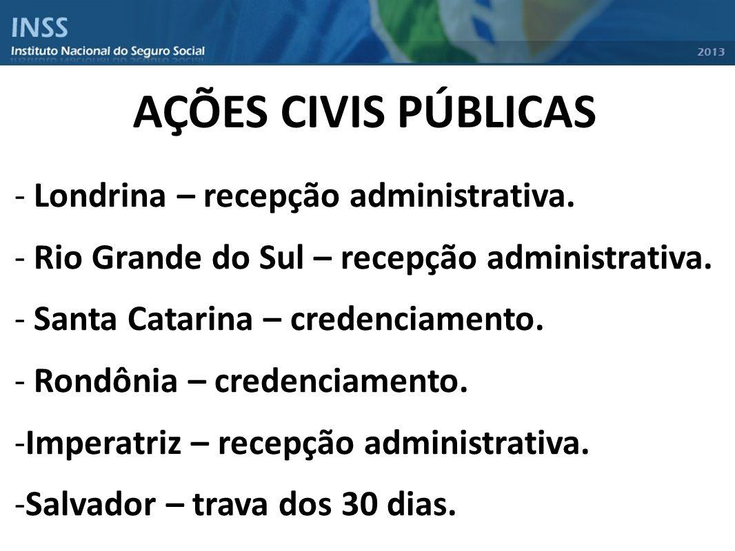 AÇÕES CIVIS PÚBLICAS Londrina – recepção administrativa.