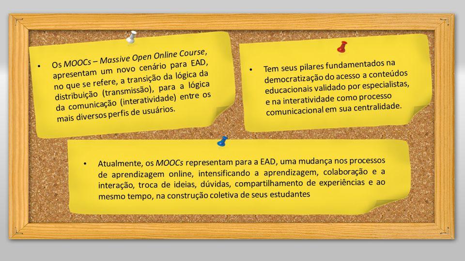 Os MOOCs – Massive Open Online Course, apresentam um novo cenário para EAD, no que se refere, a transição da lógica da distribuição (transmissão), para a lógica da comunicação (interatividade) entre os mais diversos perfis de usuários.