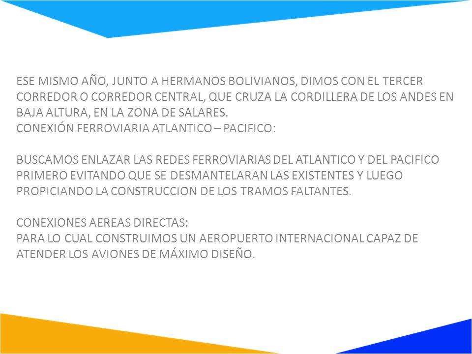 ESE MISMO AÑO, JUNTO A HERMANOS BOLIVIANOS, DIMOS CON EL TERCER CORREDOR O CORREDOR CENTRAL, QUE CRUZA LA CORDILLERA DE LOS ANDES EN BAJA ALTURA, EN LA ZONA DE SALARES.