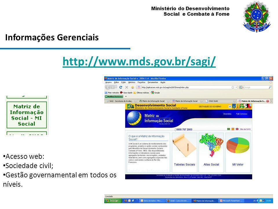 http://www.mds.gov.br/sagi/ Informações Gerenciais Acesso web: