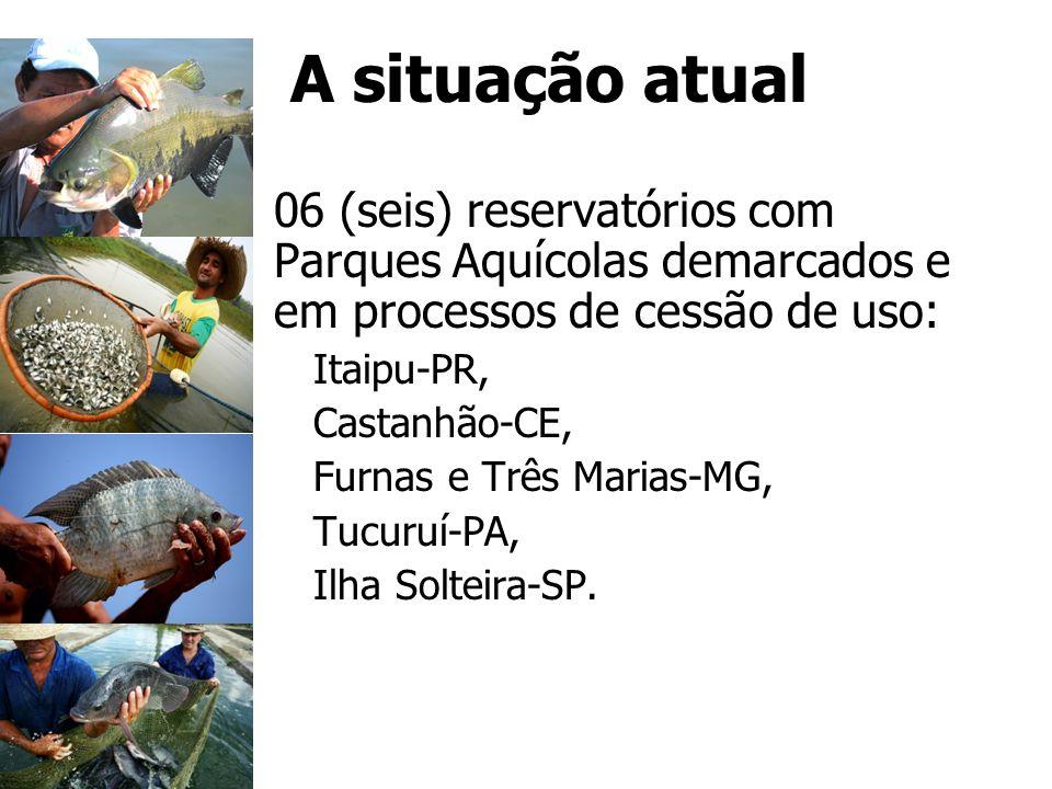 A situação atual 06 (seis) reservatórios com Parques Aquícolas demarcados e em processos de cessão de uso: