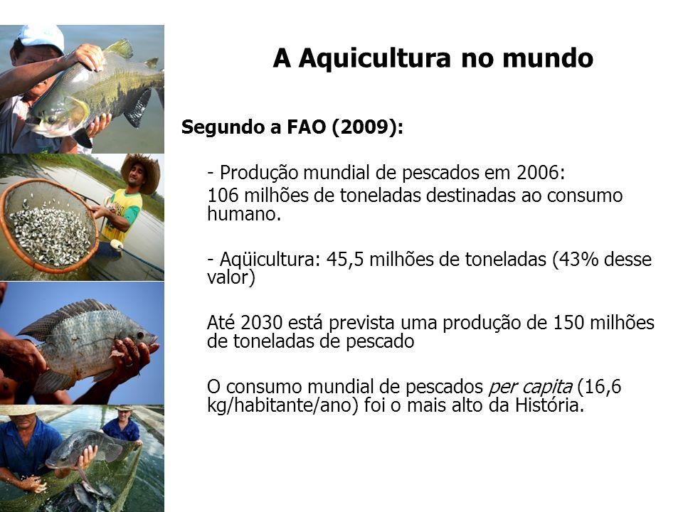 A Aquicultura no mundo Segundo a FAO (2009):