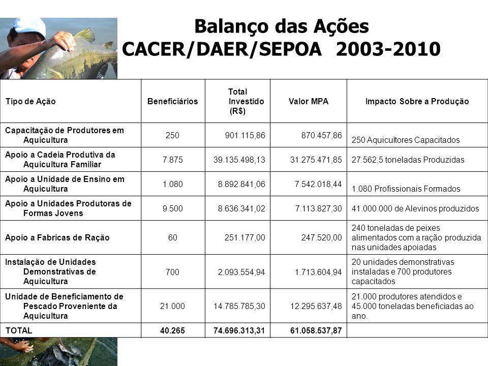 Balanço das Ações CACER/DAER/SEPOA 2003-2010