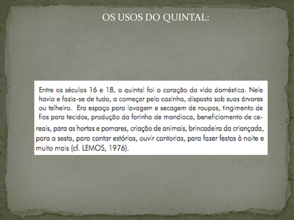 OS USOS DO QUINTAL: