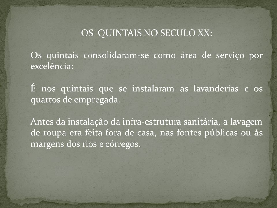 OS QUINTAIS NO SECULO XX: