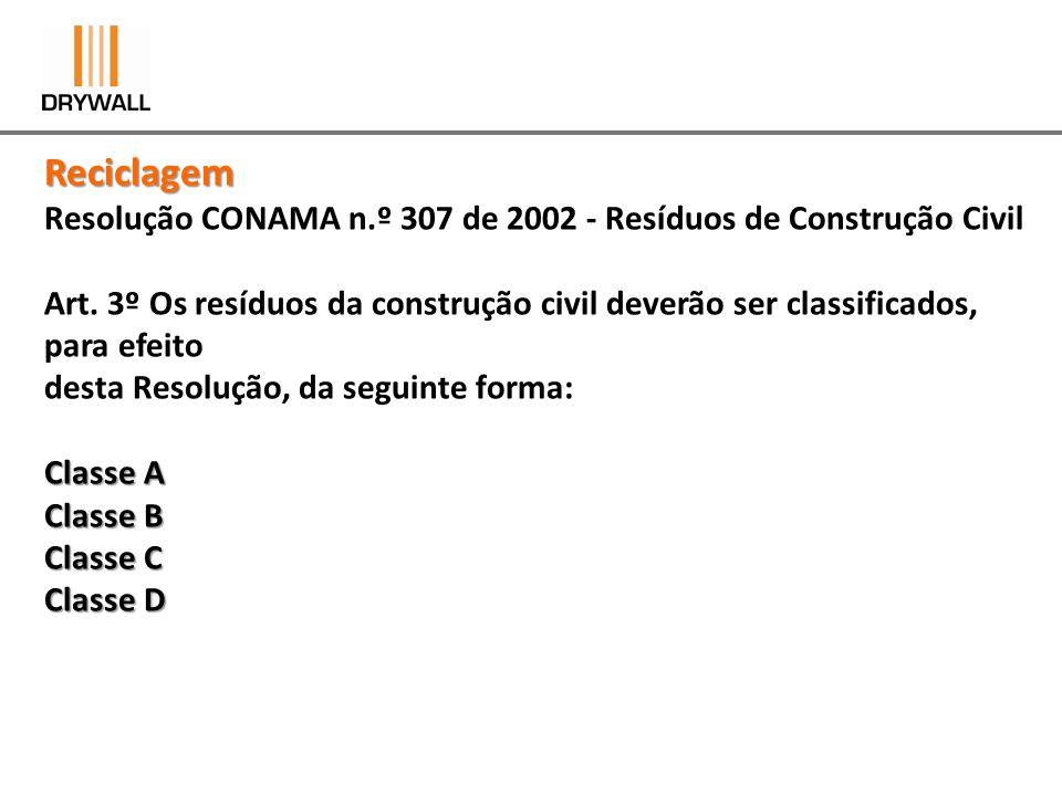 Reciclagem Resolução CONAMA n.º 307 de 2002 - Resíduos de Construção Civil.