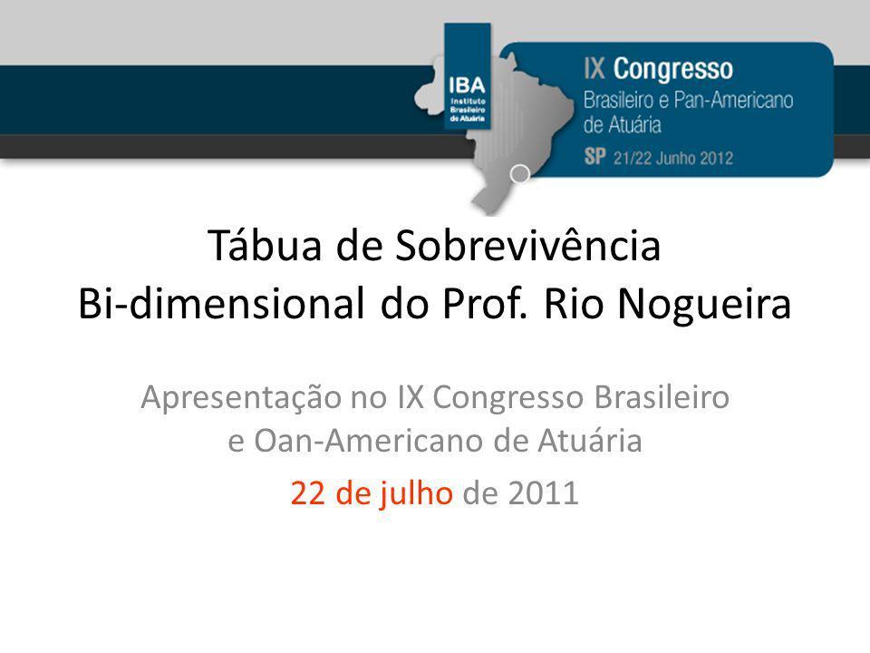 Tábua de Sobrevivência Bi-dimensional do Prof. Rio Nogueira