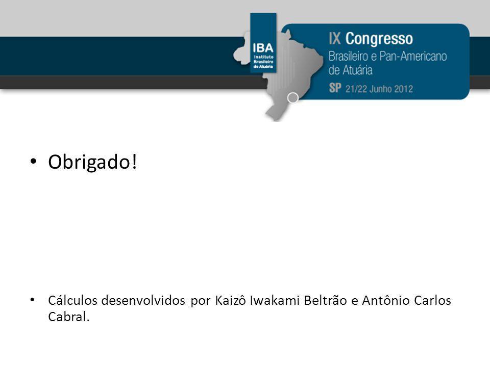 Obrigado! Cálculos desenvolvidos por Kaizô Iwakami Beltrão e Antônio Carlos Cabral.