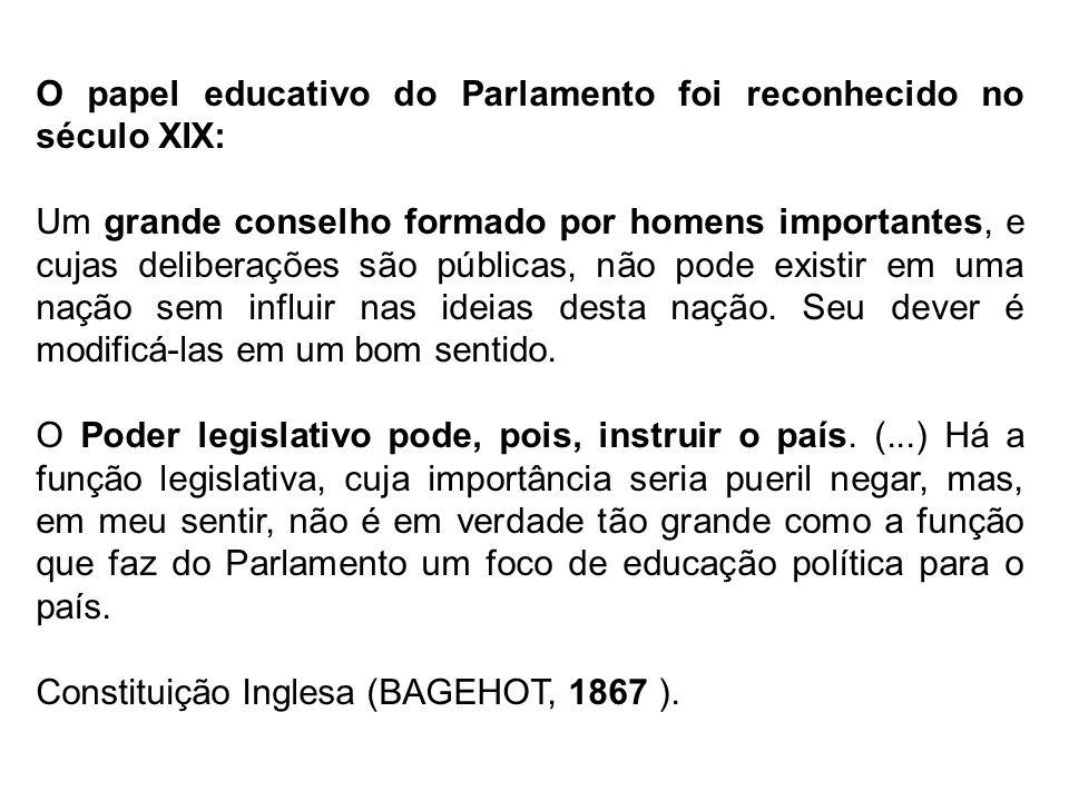 O papel educativo do Parlamento foi reconhecido no século XIX: