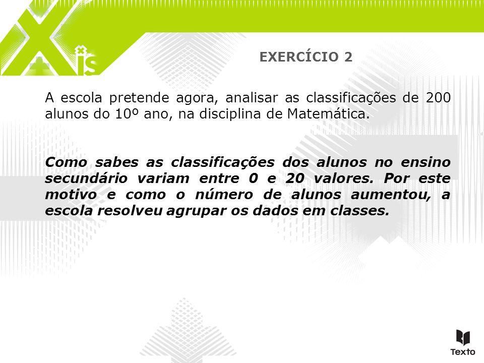EXERCÍCIO 2 A escola pretende agora, analisar as classificações de 200 alunos do 10º ano, na disciplina de Matemática.