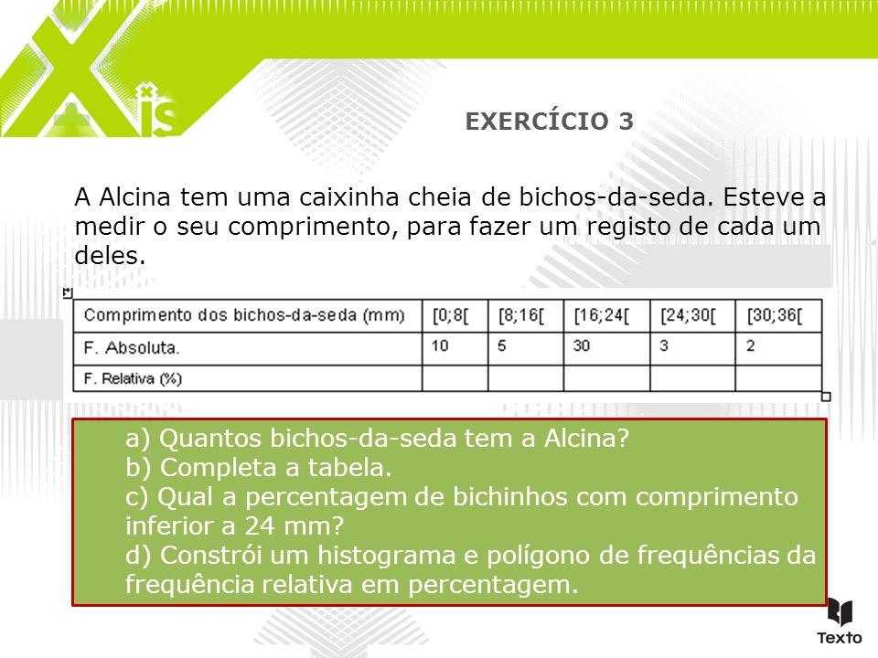 a) Quantos bichos-da-seda tem a Alcina b) Completa a tabela.