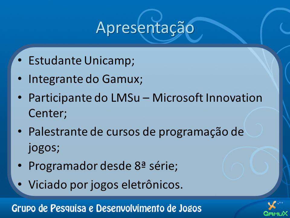 Apresentação Estudante Unicamp; Integrante do Gamux;