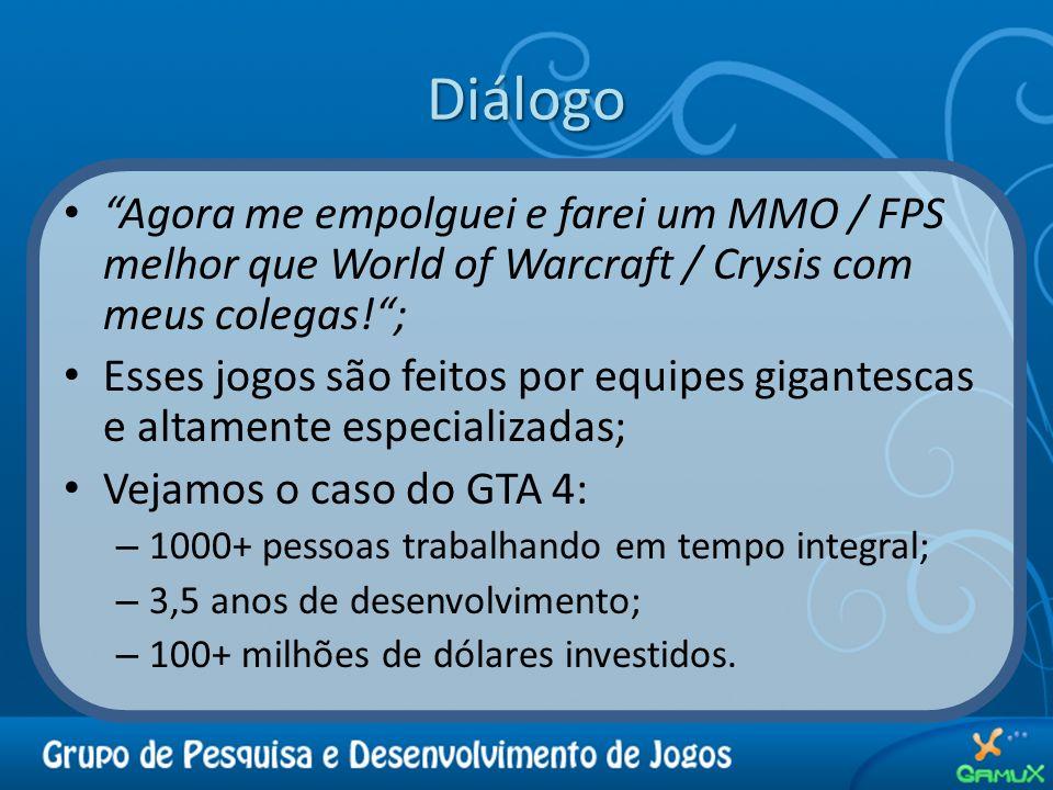 Diálogo Agora me empolguei e farei um MMO / FPS melhor que World of Warcraft / Crysis com meus colegas! ;