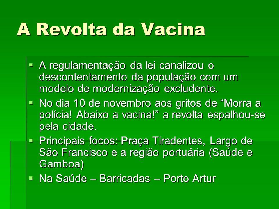 A Revolta da Vacina A regulamentação da lei canalizou o descontentamento da população com um modelo de modernização excludente.