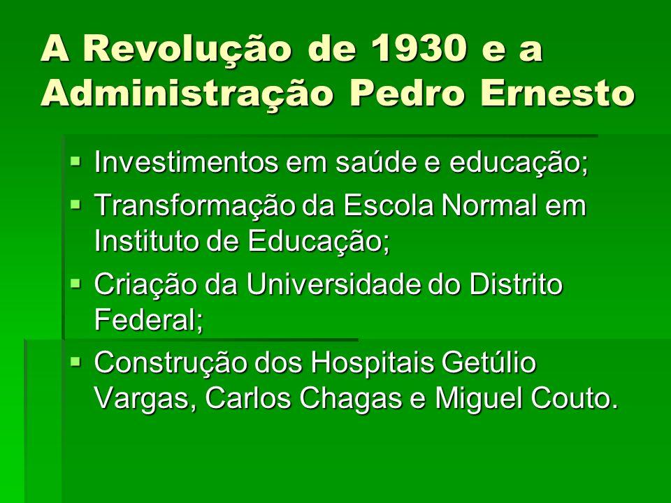 A Revolução de 1930 e a Administração Pedro Ernesto