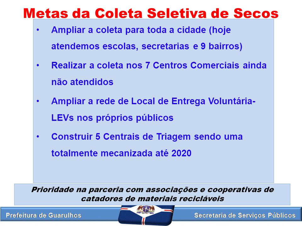 Metas da Coleta Seletiva de Secos