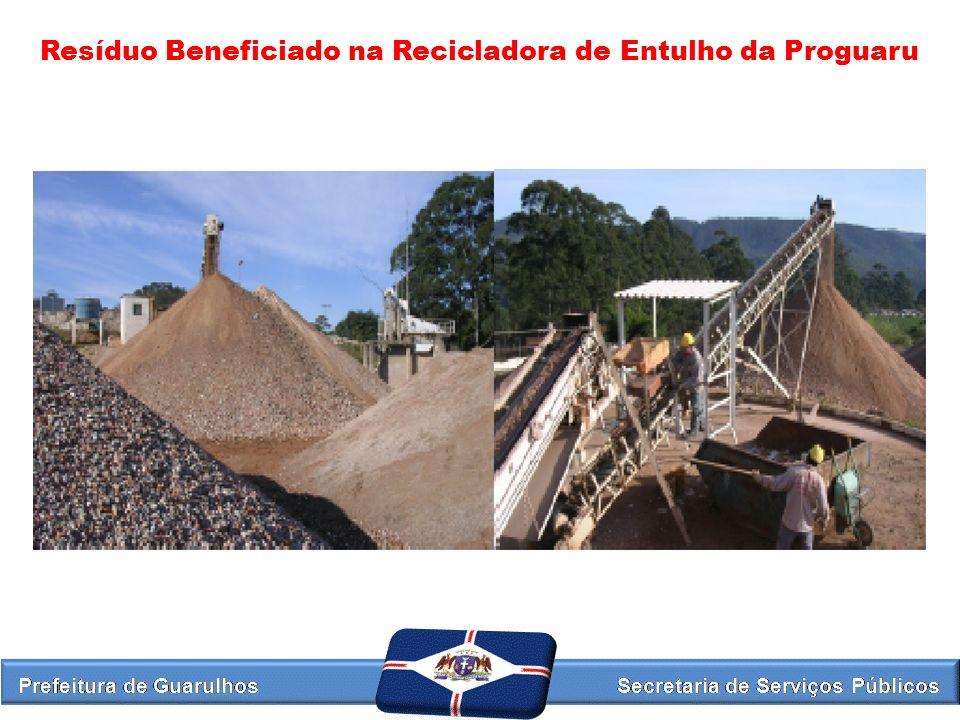 Resíduo Beneficiado na Recicladora de Entulho da Proguaru