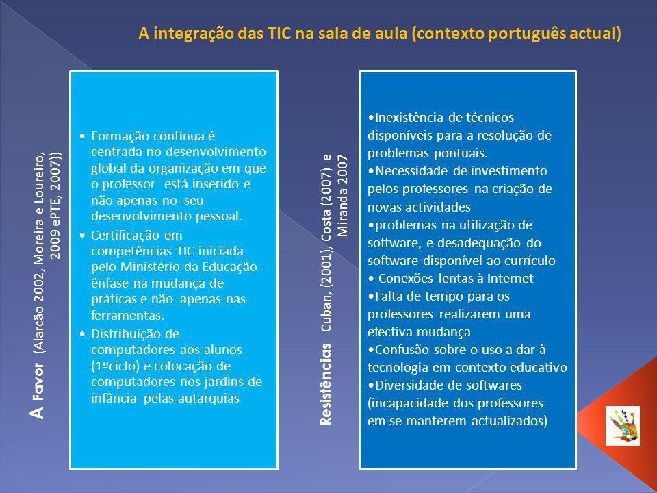 A integração das TIC na sala de aula (contexto português actual)