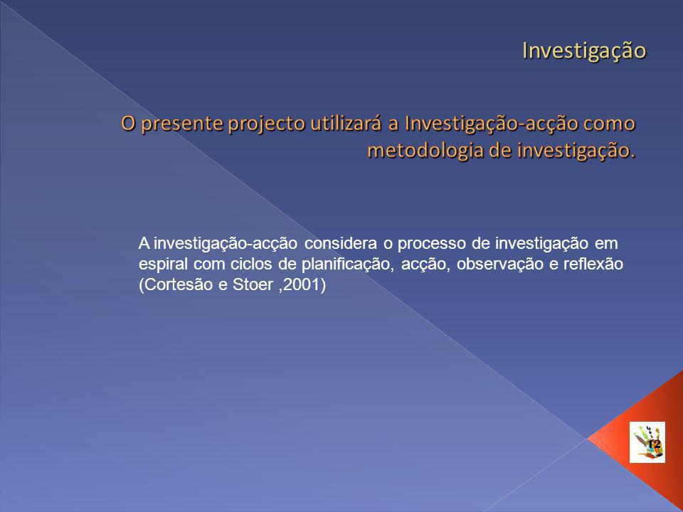 Investigação O presente projecto utilizará a Investigação-acção como metodologia de investigação.