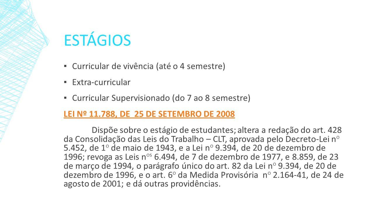 Estágios Curricular de vivência (até o 4 semestre) Extra-curricular