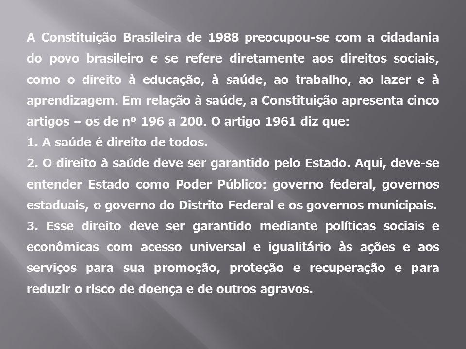 A Constituição Brasileira de 1988 preocupou-se com a cidadania do povo brasileiro e se refere diretamente aos direitos sociais, como o direito à educação, à saúde, ao trabalho, ao lazer e à aprendizagem. Em relação à saúde, a Constituição apresenta cinco artigos – os de nº 196 a 200. O artigo 1961 diz que: