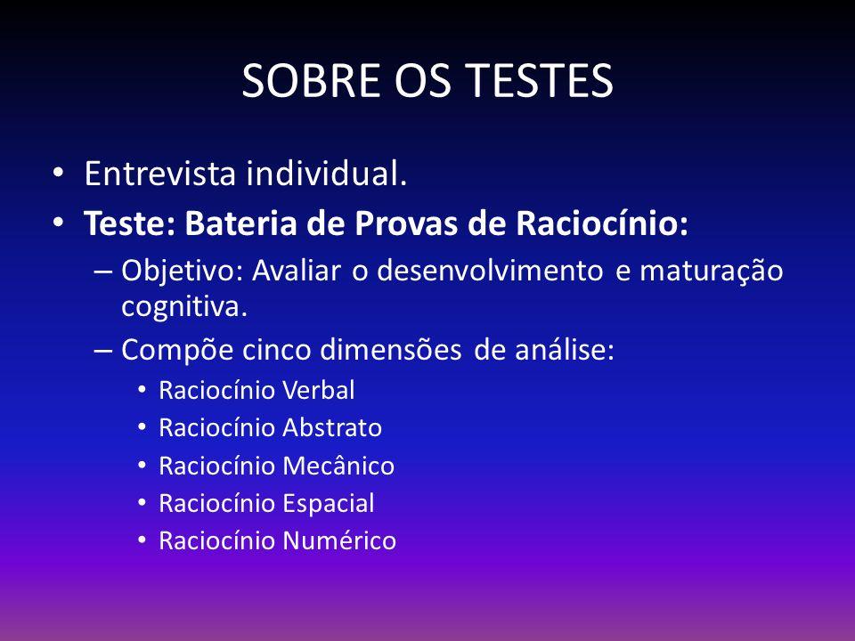 SOBRE OS TESTES Entrevista individual.