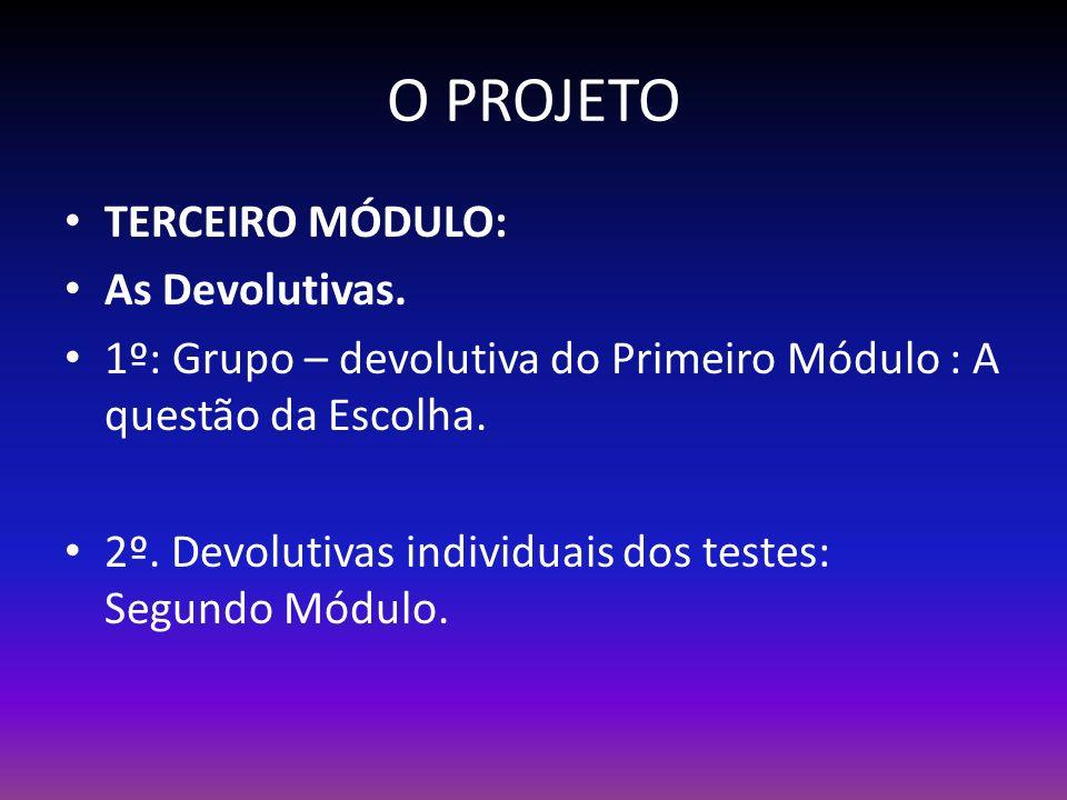 O PROJETO TERCEIRO MÓDULO: As Devolutivas.
