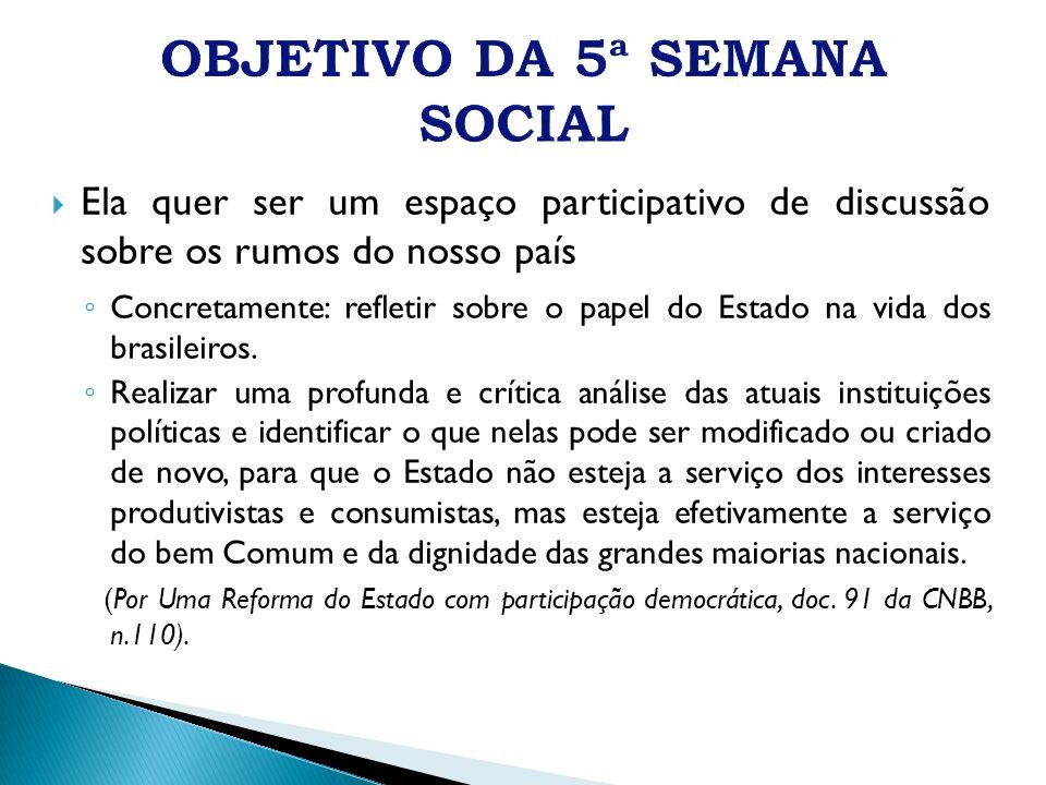 OBJETIVO DA 5ª SEMANA SOCIAL