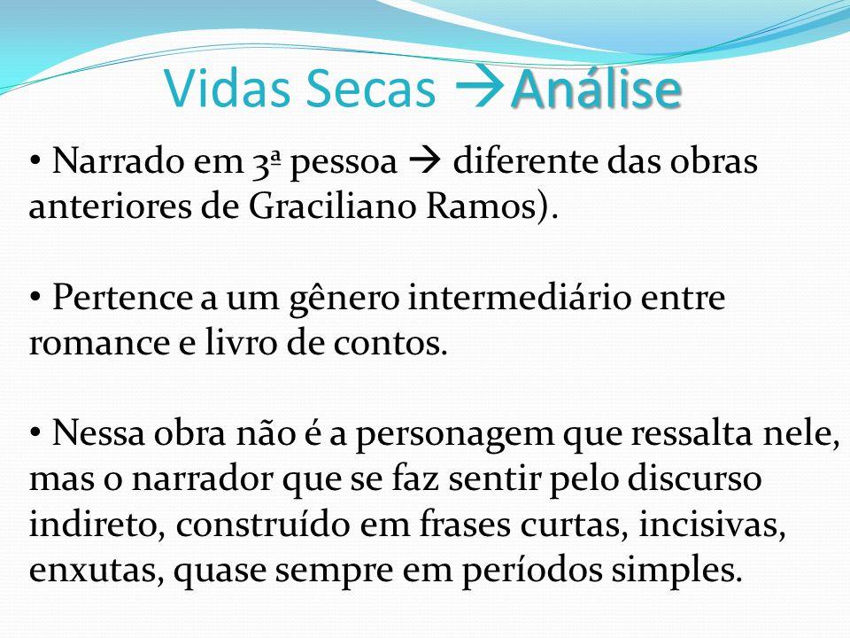 Vidas Secas Análise Narrado em 3ª pessoa  diferente das obras anteriores de Graciliano Ramos).