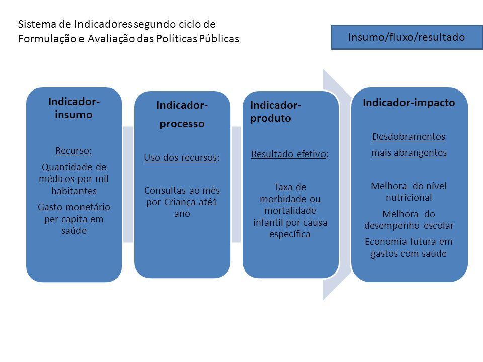 Indicador-insumo Indicador- processo Indicador-impacto