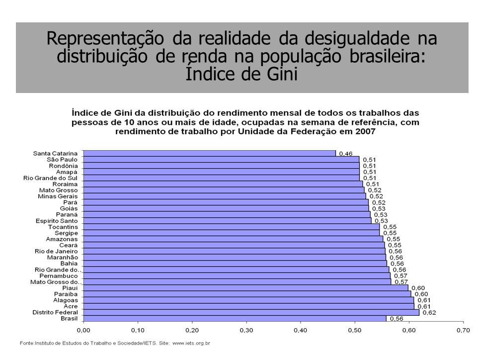 Representação da realidade da desigualdade na distribuição de renda na população brasileira: