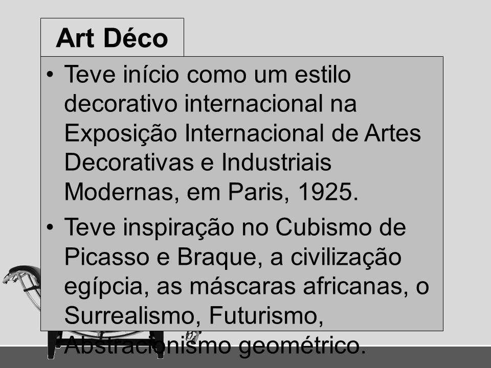 Art Déco Teve início como um estilo decorativo internacional na Exposição Internacional de Artes Decorativas e Industriais Modernas, em Paris, 1925.