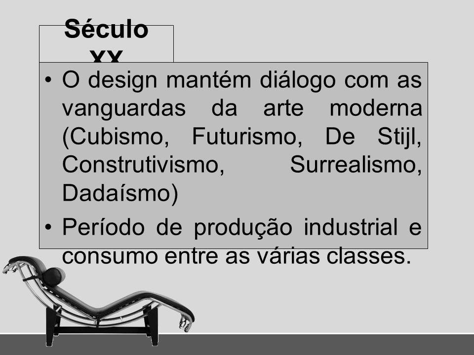 Século XX O design mantém diálogo com as vanguardas da arte moderna (Cubismo, Futurismo, De Stijl, Construtivismo, Surrealismo, Dadaísmo)