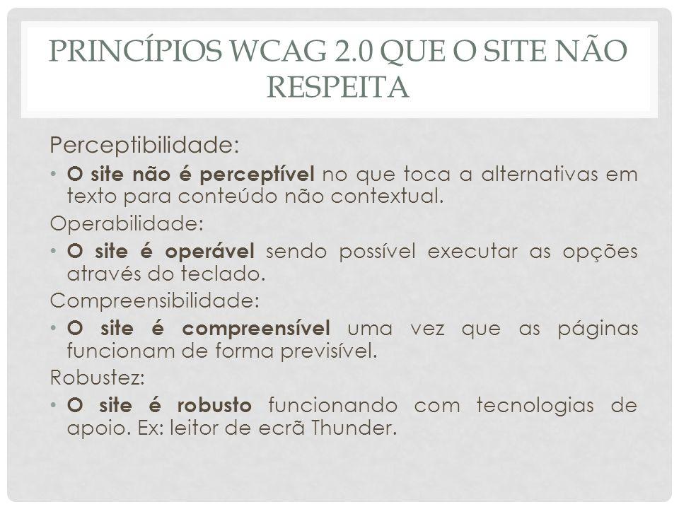 Princípios wcag 2.0 que o site não respeita
