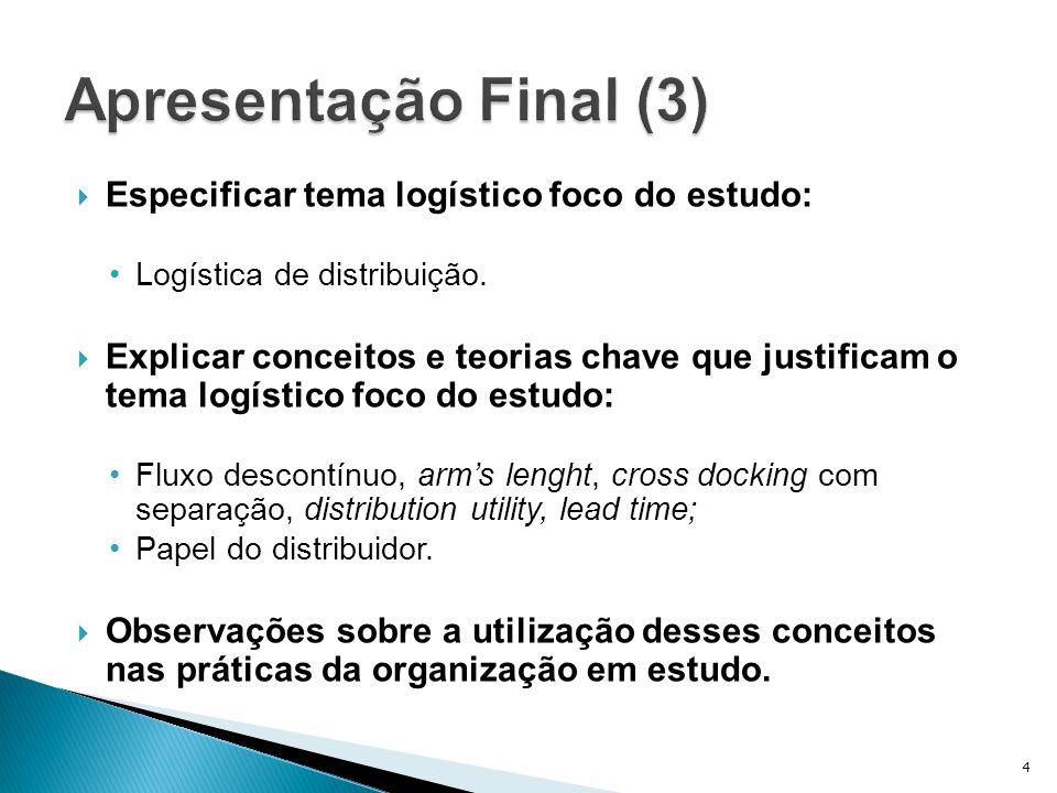 Apresentação Final (3) Especificar tema logístico foco do estudo:
